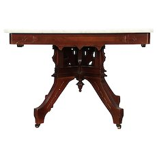 Victorian Eastlake Antique Walnut Marble Top Coffee Table #29312