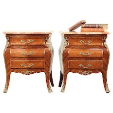 Pair Bombe Tulipwood & Rosewood Marquetry Chests or Nightstands, Marble #29315