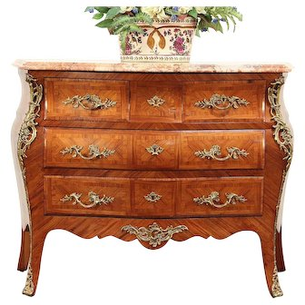 Bombe Tulipwood & Rosewood Marquetry Chest, Dresser, Commode, Marble Top #29316