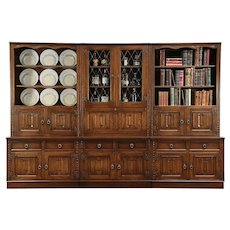 """Oak Carved Vintage 9' 4"""" Modular Library Bookcase, Leaded Glass, England #29319"""