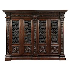 Renaissance Italian Antique Bookcase, Iron Grill Doors, Carved Dolphins #29328