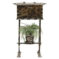 Chair Side Antique Smoking Stand & Humidor #29332