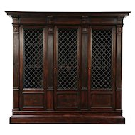 Renaissance Italian Antique Walnut Library Bookcase, 3 Iron Grill Doors #29346