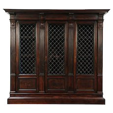 Renaissance Italian Antique Walnut Library Bookcase, 3 Iron Grill Doors #29346