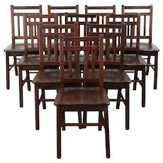 Set of 10 Arts & Crafts Mission Oak Antique Craftsman Dining Chairs #29352