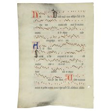 Musical Antique Manuscript, Hand Painted Vellum, Flanders 1490 #29355