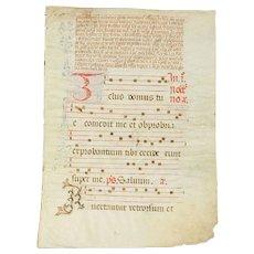 Musical Antique Manuscript, Hand Painted Vellum, Northern Europe 1500 #29356