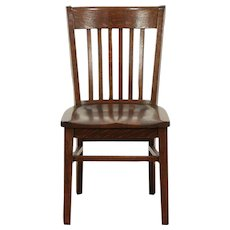 Oak Antique Library, Office or Dining Chair, Signed Marble & Shattuck #29371