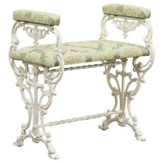Cast Iron Antique Bench with Arms, New Upholstery #29373