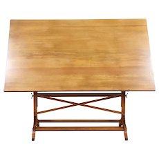 Drafting Artist Desk, Vintage Oak & Pine Drawing or Wine & Cheese Table #29375