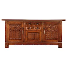 Oak Gothic Carved Antique Sideboard, Credenza or TV Console Cabinet #29376