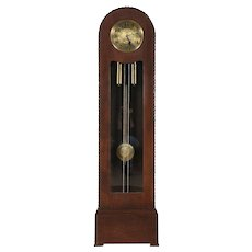 Art Deco Oak Antique Grandfather Tall Case Clock, Signed Lauffer, Germany #29377