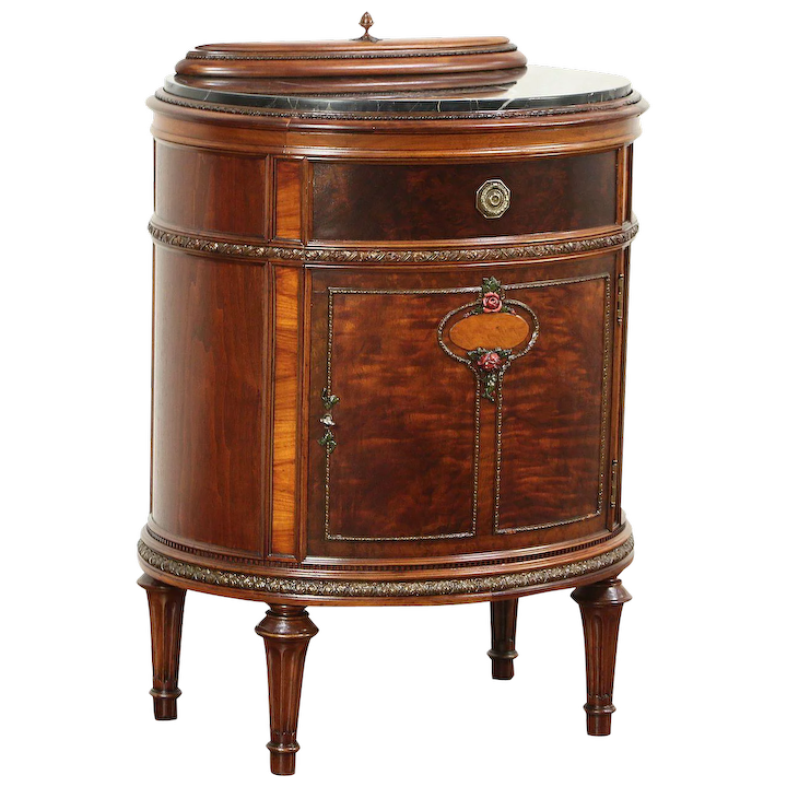 Walnut Burl Oval Antique Marble Top End Table Or Nightstand Jewel Tray 29386