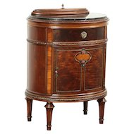 Walnut & Burl Oval Antique Marble Top End Table or Nightstand, Jewel Tray #29386