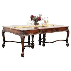 Renaissance Carved Antique Dining Table, 4 Leaves, Ebony Marquetry #29408
