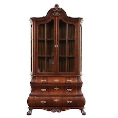 Dutch Baroque Vintage Bombe Mohogany China or Curio Display Cabinet #29421