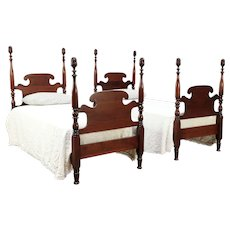 Pair Antique Cherry Twin Beds, Pineapple Posts, Signed Athens #29428
