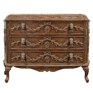 John Richard Signed Designer Chest or Dresser, Marble Top, Ram Heads #29431