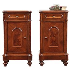 Pair Italian Antique Walnut & Burl Nightstands #29436