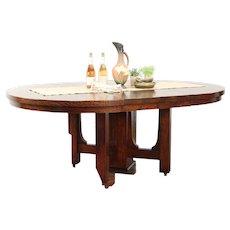 """Arts & Crafts Mission Oak Antique Craftsman 54"""" Dining Table, 2 Leaves #29446"""