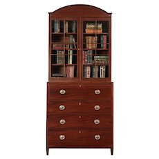 English Antique 1870 Mahogany Butler Secretary Desk & Bookcase #29452