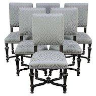 Set of 6 Antique Italian Ebonized Fruitwood Dining Chairs, New Upholstery #29453
