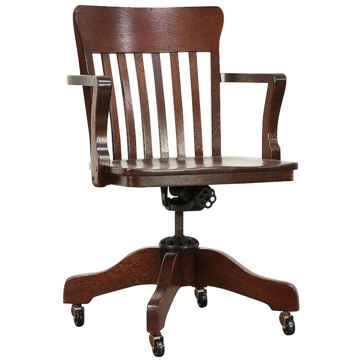 Oak Antique Swivel Adjustable Office Desk Chair, Signed Milwaukee #29456 - Oak Antique Swivel Adjustable Office Desk Chair, Signed Milwaukee