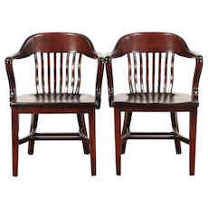 Pair of Birch Antique Banker, Library or Office Chairs  #29460