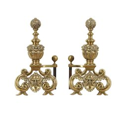 Brass Antique Fireplace Hearth Andirons, Embossed Heads #29469