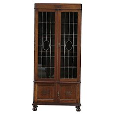 English Tudor Oak Antique Library Bookcase, Leaded Glass Doors #29470