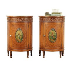 Pair Antique Satinwood Demilune Nightstands or End Tables, Hand Painted #29472