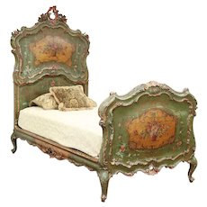 Venetian Antique Hand Carved & Painted Italian Twin or Single Bed #29474