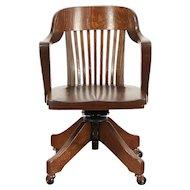 Oak Antique Swivel Adjustable Office Desk Chair, Signed Crocker #29475