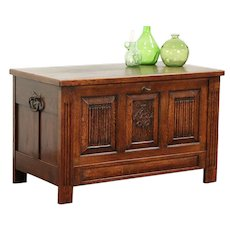 Oak Carved Antique Drop Front Trunk, Chest, Coffee Table or TV Console #29477