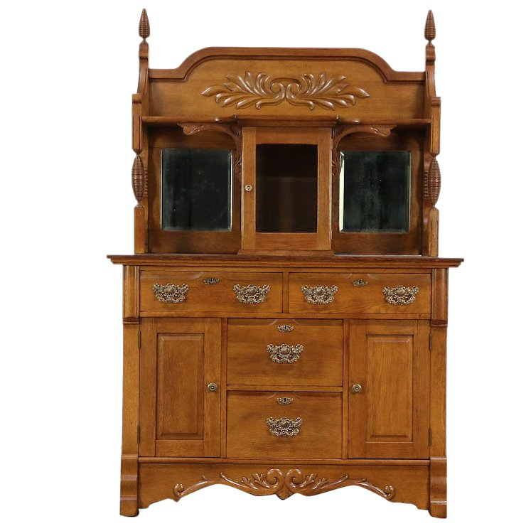 Victorian Oak Antique Sideboard, Server or Buffet, Beveled Mirrors, Glass  #29479 - Victorian Oak Antique Sideboard, Server Or Buffet, Beveled Mirrors