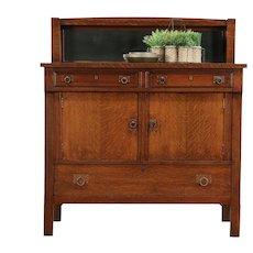 Arts & Crafts Mission Oak Antique Craftsman Sideboard, Server, Buffet #29488