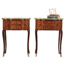 Pair of French Antique End Tables or Nightstands, Marble Tops #29499