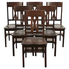Set of 6 Arts and Crafts Mission Oak Antique Craftsman Dining Chairs #29505
