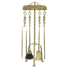 Brass Antique Fireplace Set of 4 Tools & Spiral Paw Foot Stand #29521