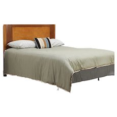 Midcentury Modern Queen Size Bed Headboard Vintage Maple & Mahogany RWay #29525