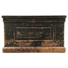 Country Pine Antique Trunk, Chest or Coffee Table, Old Paint, Signed #29528