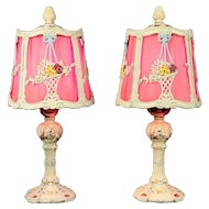 Pair Hand Painted Antique Boudoir Lamps, Silk Lined Filigree Shades #29541