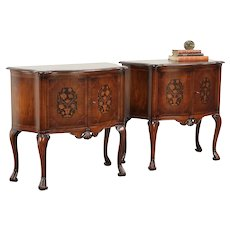 Pair of Italian Antique Hall Console Cabinets, End Tables or Nightstands #29545