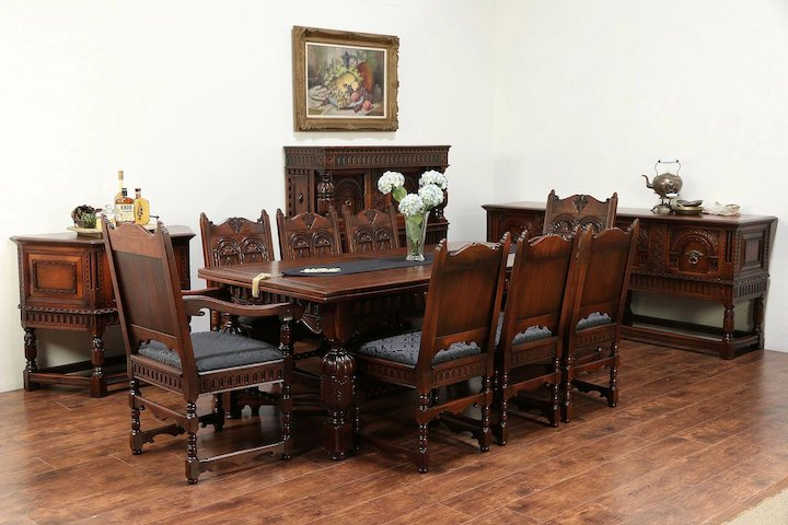 Superieur English Renaissance Antique Dining Set, Table, 8 Chairs, Signed Kittinger  #29557