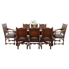 English Renaissance Antique Dining Set, Table, 8 Chairs, Signed Kittinger #29557