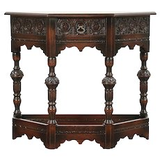 English Tudor Oak 1930's Vintage Hall Console Table, Signed Lammerts #29559