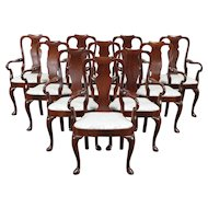Set of 10 Mahogany Dining Chairs or Conference Armchairs, Kittinger #29561