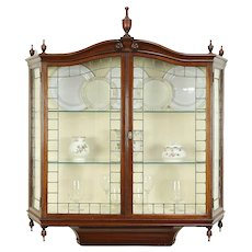 English Antique Wall Hanging Vitrine or Curio Cabinet, Leaded Glass Doors #29565
