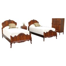 French Style Antique Bedroom Set, Twin Beds, Nightstand, Tall Chest #29579