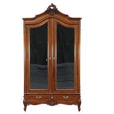 French Antique Mahogany Armoire, Beveled Mirror Doors, Closet Pole #29590